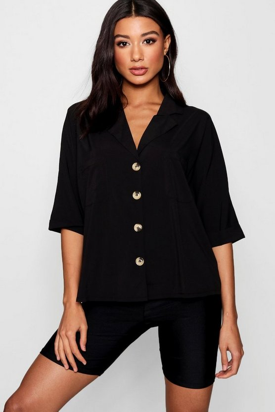 Womens Black Horn Button Detail Revere Collar Shirt