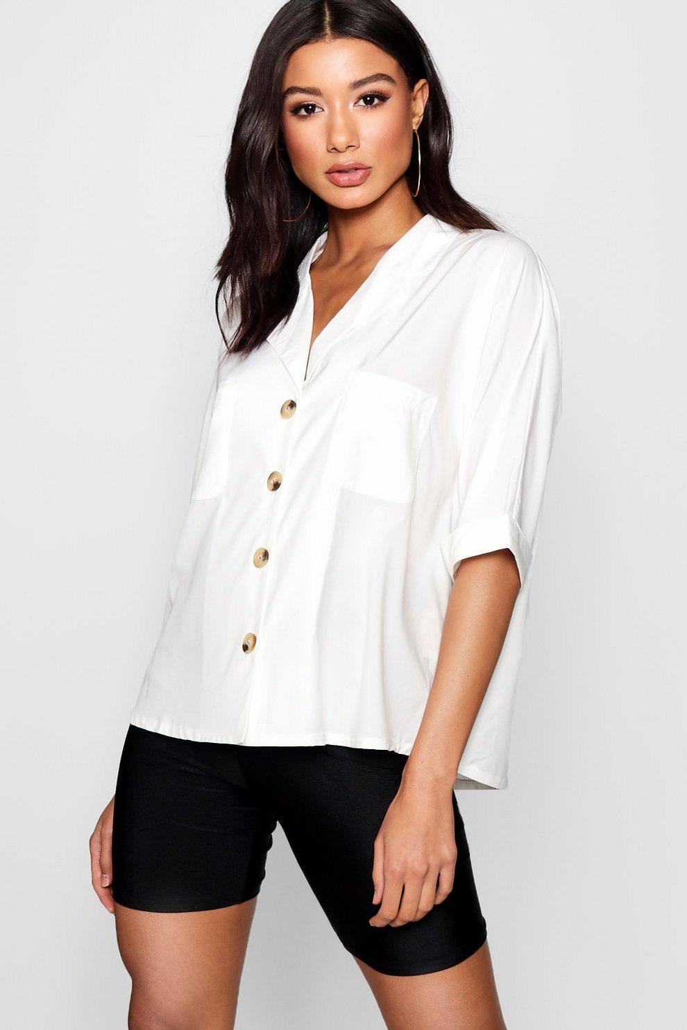 f23cad299898 Horn Button Detail Revere Collar Shirt | Boohoo