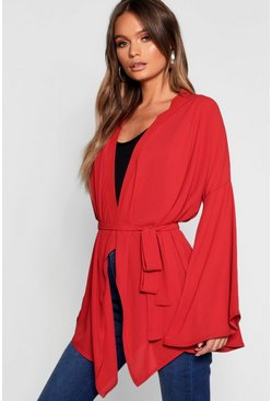 Womens Red Extreme Sleeve Wrap Front Tie Top
