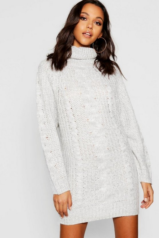 Womens Cable Knit Roll Neck Jumper Dress
