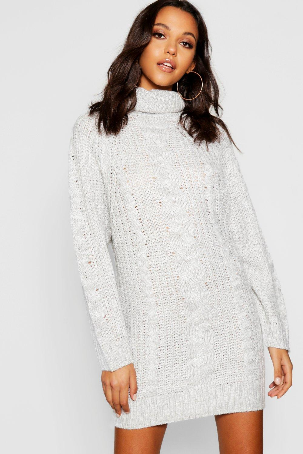 0a1b986216fe Womens Cable Knit Roll Neck Jumper Dress. Hover to zoom