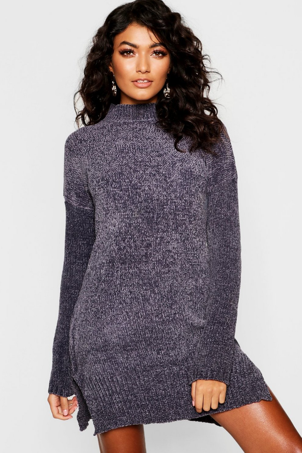 5a4b504568d Womens Slate Chenille Sweater Dress