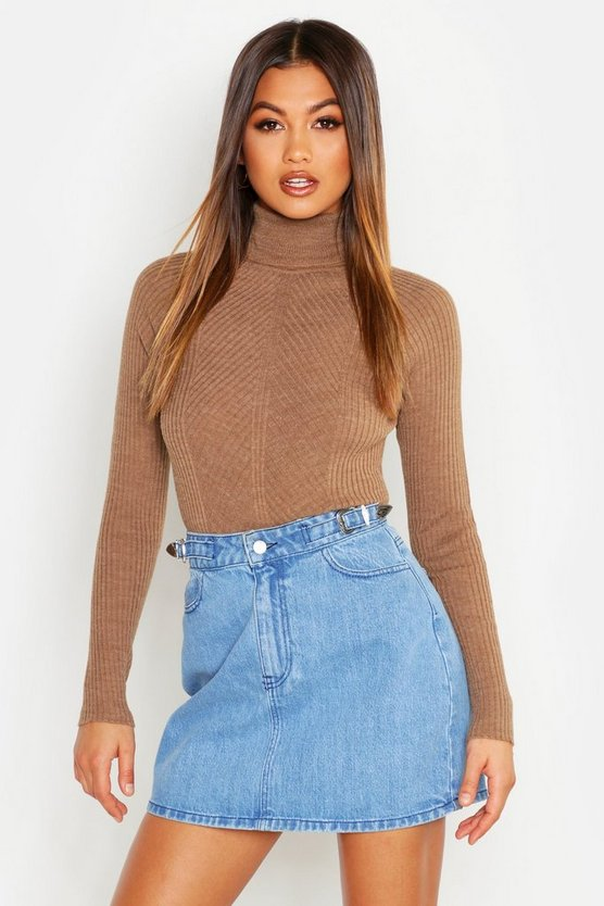 Rib Knit Roll Neck Jumper