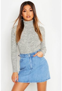 Silver grey Rib Knit Roll Neck Jumper