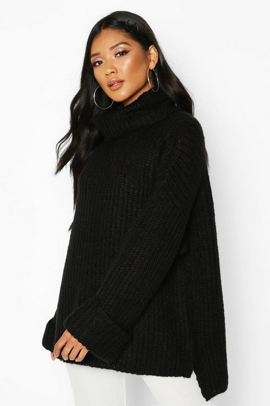 Black Rib Knit Wide Sleeve Turn Up Cuff Jumper