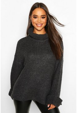 Charcoal Rib Knit Wide Sleeve Turn Up Cuff Jumper