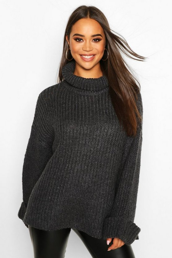Rib Knit Wide Sleeve Turn Up Cuff Jumper