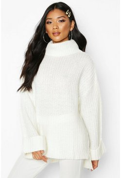 Womens Ivory Rib Knit Wide Sleeve Turn Up Cuff Jumper