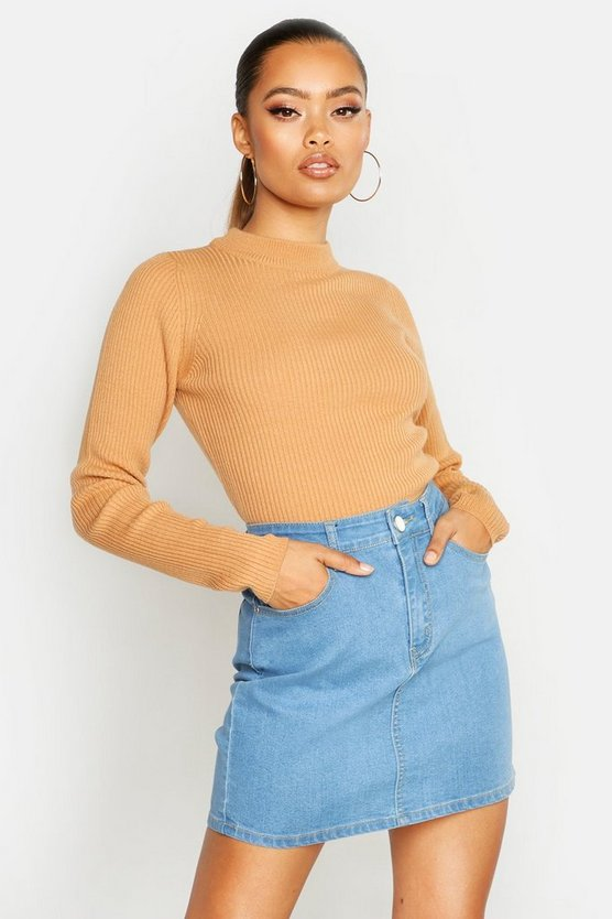 Womens Camel Ribbed Turtle Neck Jumper