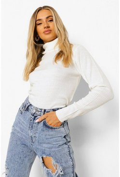 Womens Ivory Ribbed Turtle Neck Sweater