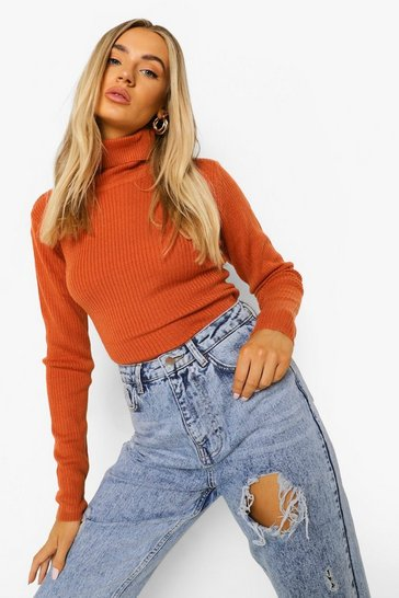 Terracotta Ribbed Turtle Neck Jumper