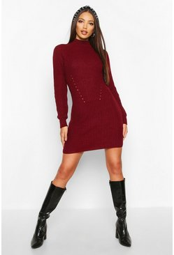 Womens Berry Rib Knit Jumper Dress