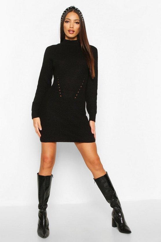 Black Rib Knit Sweater Dress