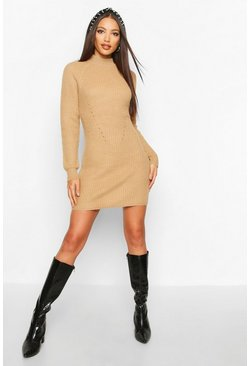 Camel Rib Knit Sweater Dress