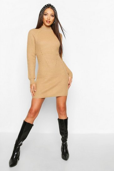 Camel Rib Knit Jumper Dress