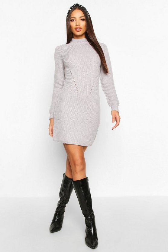 Womens Grey Rib Knit Jumper Dress