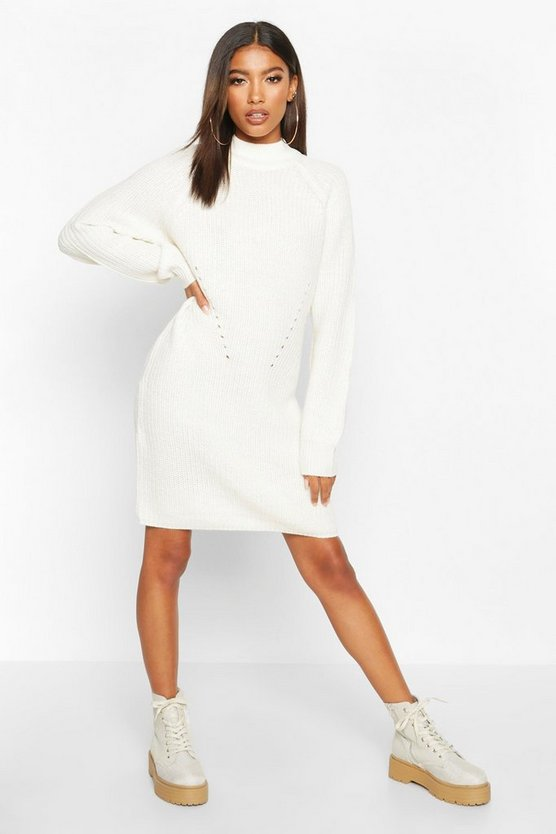 Womens Ivory Rib Knit Jumper Dress