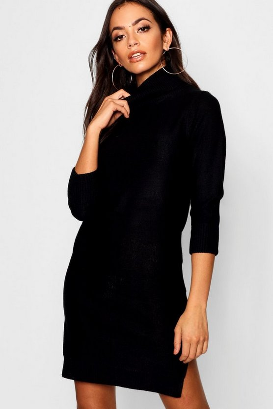 Womens Black Rib Knit Roll Neck Jumper Dress