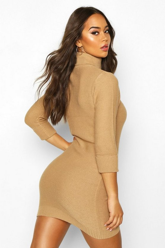 Rib Knit Roll Neck Jumper Dress