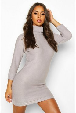 Grey Rib Knit Roll Neck Sweater Dress
