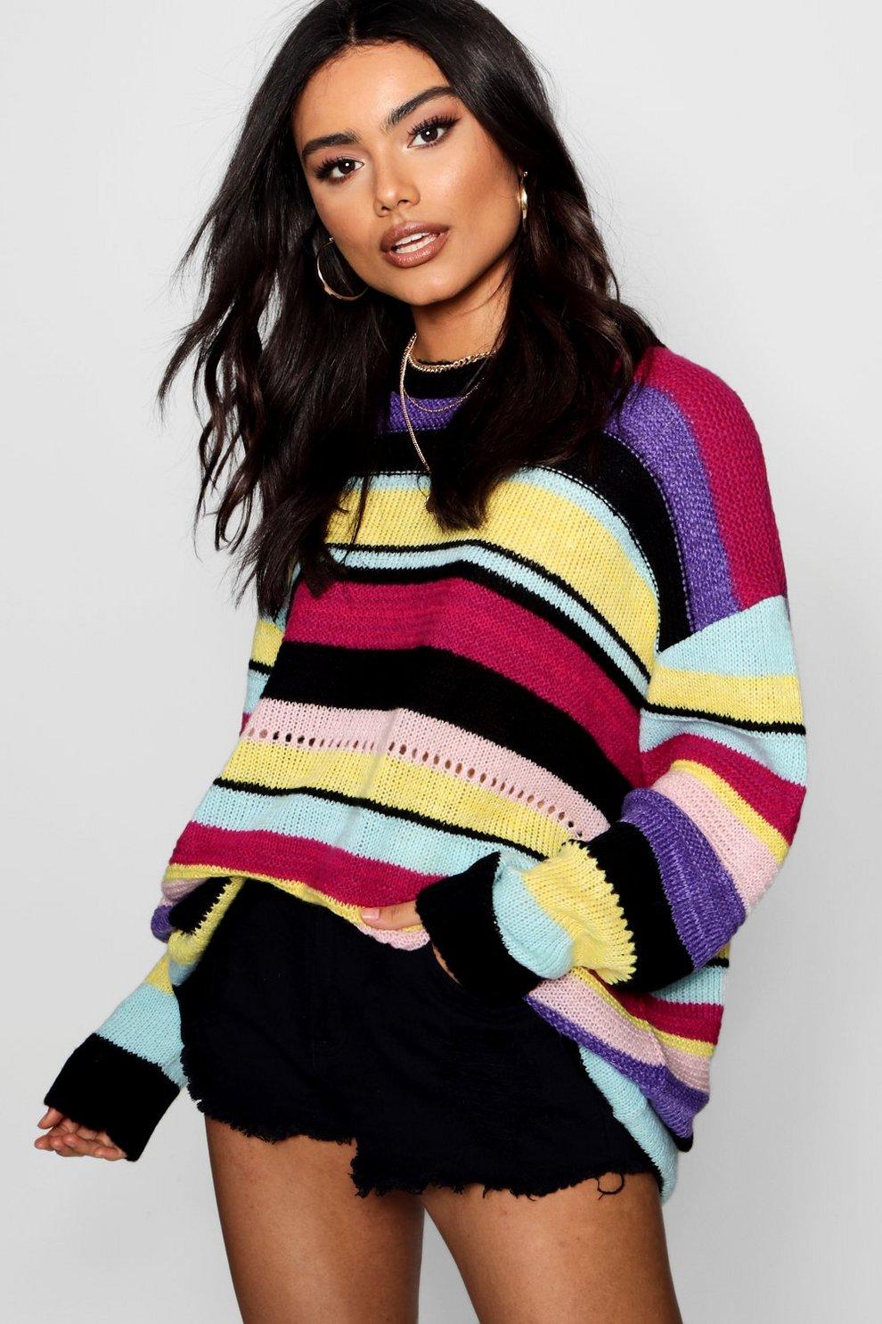 ecd3a2fd93e6 Soft Knit Rainbow Stripe Jumper   Boohoo