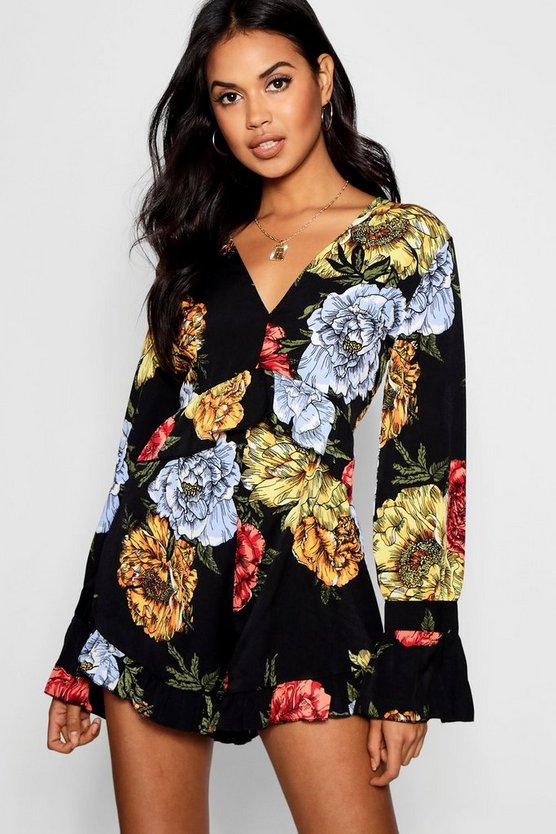 Floral Ruffle Leg Playsuit