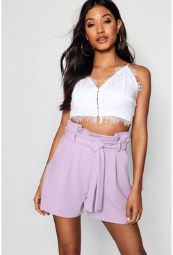 Lilac High Waisted Tie Belt Shorts