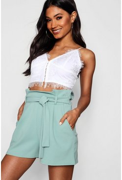 Womens Sage High Waisted Tie Belt Shorts