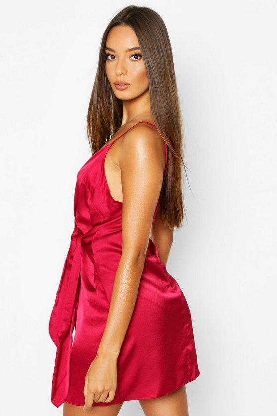 Satin Wrap Detail Dress