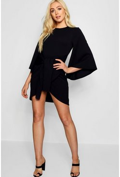 Black Kimono Sleeve Tie Waist Wrap Dress
