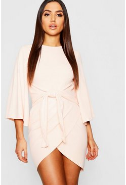 Womens Blush Kimono Sleeve Tie Waist Wrap Dress
