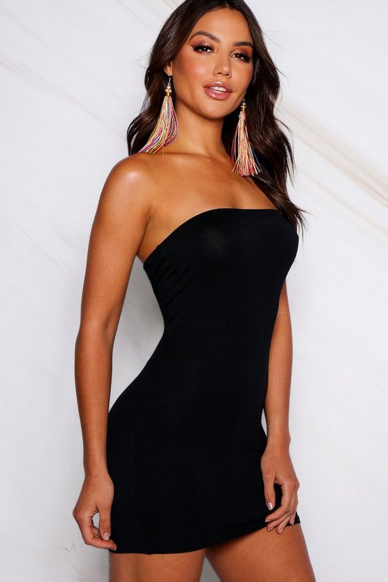 Womens Black Bandeau Bodycon Mini Dress