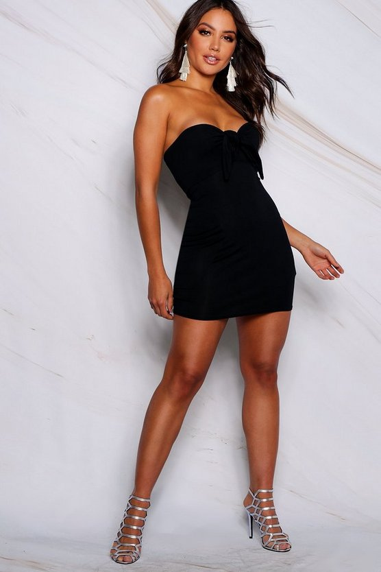 Womens Black Tie Front Bodycon Dress