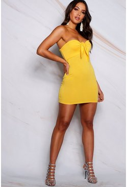 Womens Yellow Tie Front Bodycon Dress