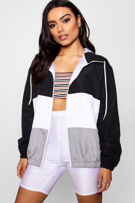Womens Black Panelled Windbreaker