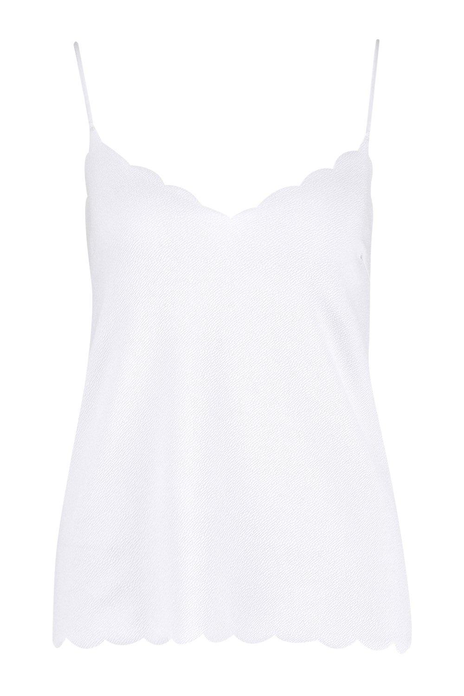Camisola bordes blanco Camisola con festoneados con bordes blanco festoneados Camisola Uwaf1xfqn5