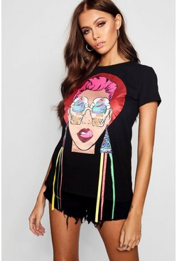 Womens Black Face T-Shirt