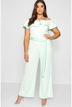 Womens Mint Plus Anna Contrast Binding Bardot Jumpsuit