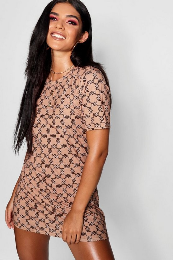 Repeat Print T-shirt Dress