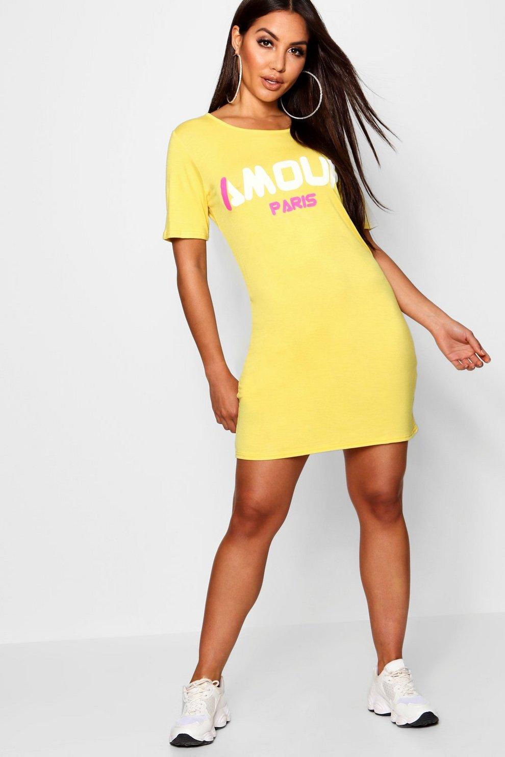 Oversized Slogan T-Shirt Dress  5b4c6ba63