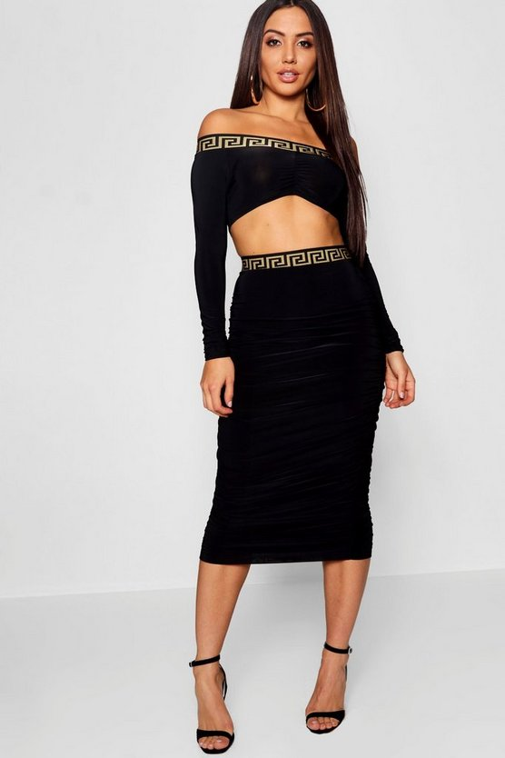 Black Ruched Tape Detail Co-Ord