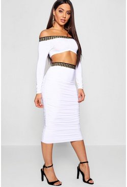 Womens White Ruched Tape Detail Co-Ord