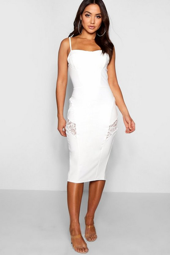 Lace Insert Midi Dress