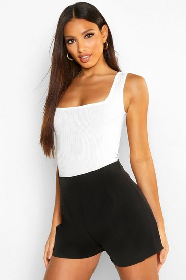 Womens Black Crepe High Waisted Short
