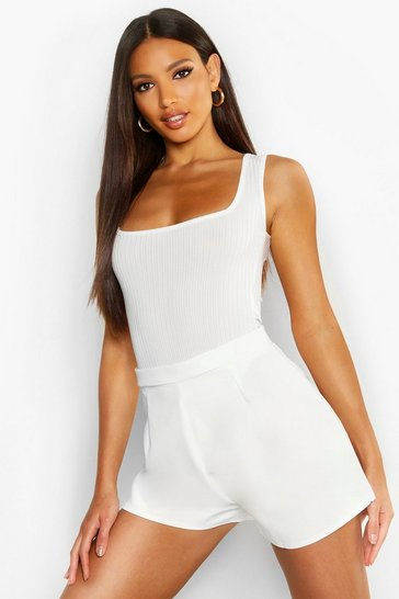 Womens White Crepe High Waisted Short