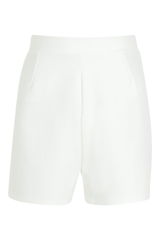Pantalones de cortos en blanco crepé tiro alto fxfzqRCwr