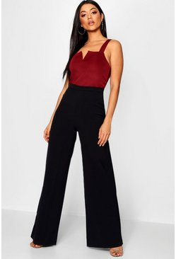 Womens Black High Waisted Woven Wide Leg Trousers