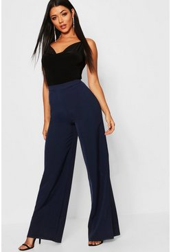 Womens Navy High Waisted Woven Wide Leg Trousers
