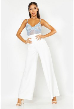 Womens White High Waisted Woven Wide Leg Trousers