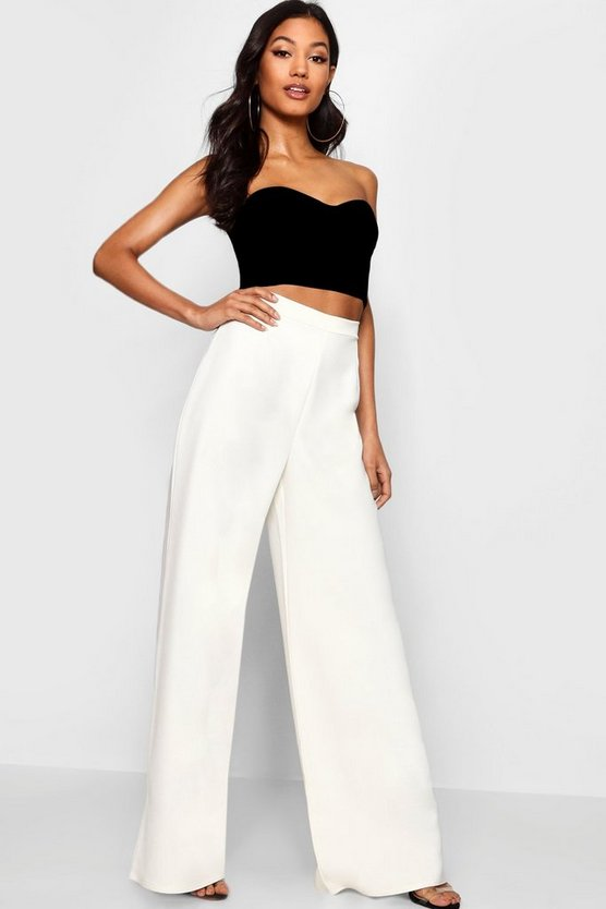 Womens White Woven High Waisted Trouser